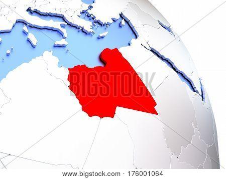 Libya On Elegant Globe