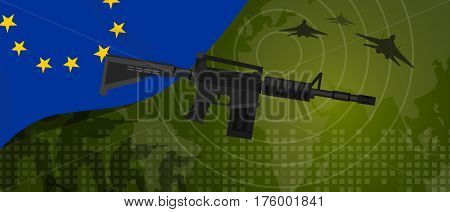 Europe Union EU military power army defense industry war and fight country national celebration with gun soldier jet fighter and radar vector