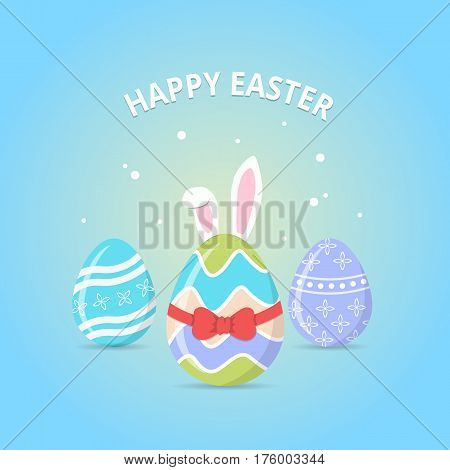 Happy Easter. Easter Bunny coming soon from eggs decorated with red ribbon.Easter greeting card with colorful eggs and bunny ears on blue background. Vector illustration in flat style.