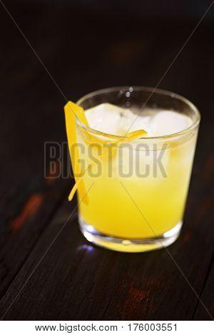 Bolivian based cocktail drink Singani on a dark background
