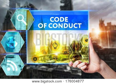 Technology, Internet, Business And Marketing. Young Business Woman Writing Word: Code Of Conduct