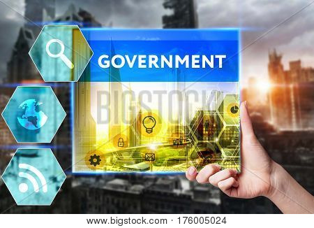 Technology, Internet, Business And Marketing. Young Business Woman Writing Word: Government