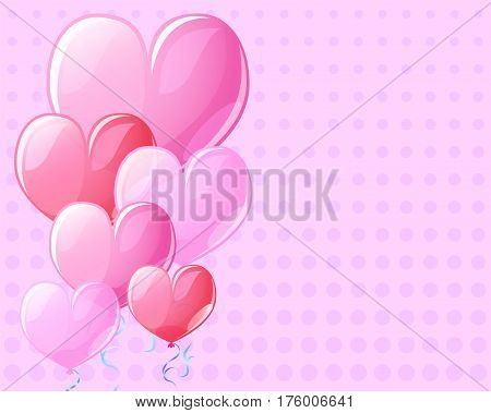 Pink background with heart air balloons. Vintage card template for Valentine Day with text place. Square banner template with romantic decor. Heart balloons for Valentine day. Pink romantic postcard