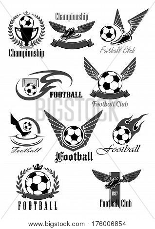 Football or soccer icons for sport club or championship game award. Vector symbols of fire ball with wings for goal, footballer boots or cleats, winner ribbon and victory cup with crown