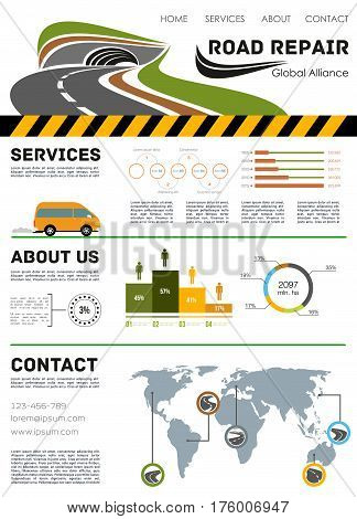 Road repair and construction landing page. Vector template for highway and motorway service or building company with infographic chart diagrams and flowchart map