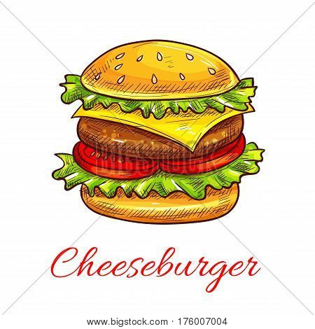 Cheeseburger vector icon for fast food symbol. Vector hamburger sandwich with grill meat and sesame bun, cheese and lettuce for fastfood restaurant or cafe snack or meal takeaway or delivery menu