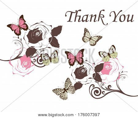 vector illustration of a vintage thank you card with butterflies roses branches