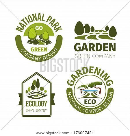Eco park or green garden vector icons set. Landscape design and urban gardening award symbols of trees woodland for eco building company or city horticulture planting service