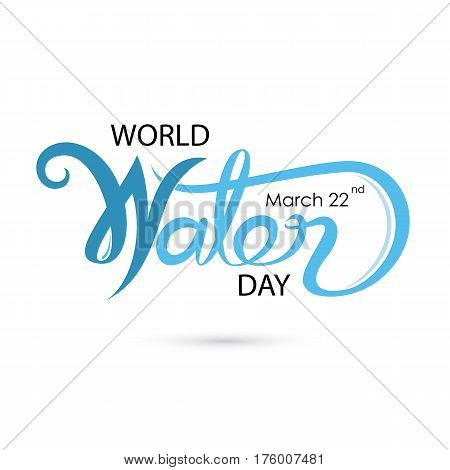 Blue World Water Day Typographical Design Elements.World Water Day icon. Minimalistic design for World Water Day concept.Vector illustration