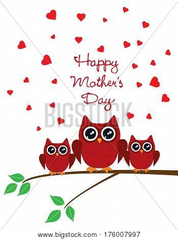 vector illustration of a mother's day card with owls and red hearts