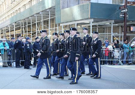 NEW YORK - MARCH 17, 2016: United States Army Rangers marching at the St. Patrick's Day Parade in New York.