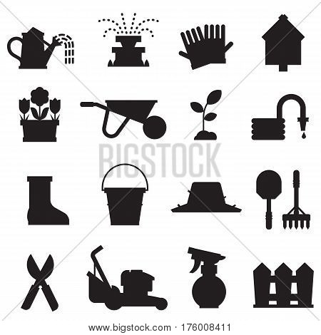 Spring gardening icons with lawn and farm tools and equipment. Growing plants and horticulture icon set in outline design including grass-cutter, wheelbarrow and other objects. Springtime collection.