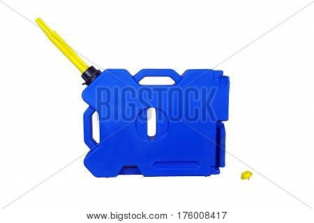 Blue plastic Expedition canister container isolated on white background