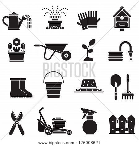 Spring gardening icon set with lawn and farm tools and equipment. Growing plants and horticulture icons in outline design including grass-cutter, wheelbarrow and other objects. Springtime collection.