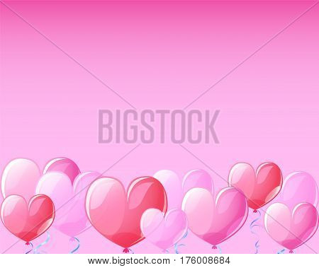 Pink heart air balloons banner background for St Valentine Day. Template for Valentine Day with text place. Pink heart balloons for Valentine day greeting. Pink red transparent hearts vector decor