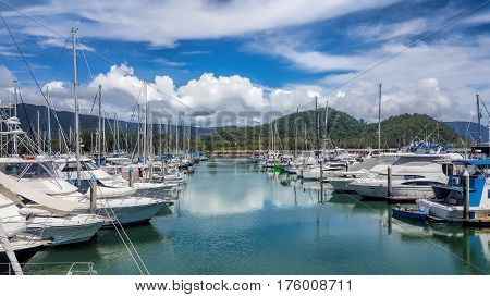 Marina at Yorkeys Knob Cairns on a beautiful tropical day