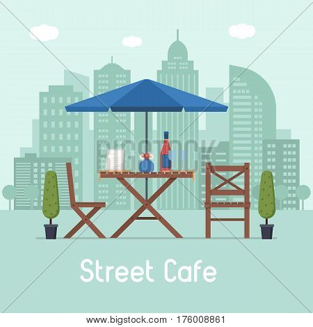 Summer outdoor cafe terrace with seats under parasol on modern city background. Street restaurant scene in flat design. Romantic dinner table for two with menu, wine bottle and glasses.
