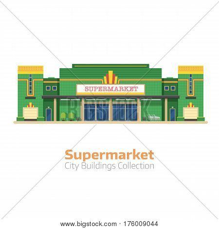 Supermarket building vector illustration. Large food store facade isolated on white background. Super market or grocery store exterior in flat design.