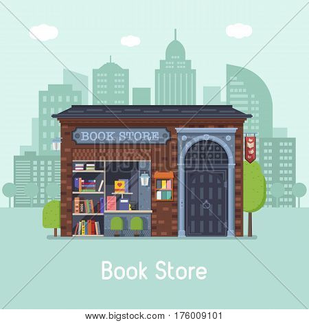 Old public book shop building facade on modern city background. Authentic bookstore banner for website and internet. Classic Europe antiquarian bookshop concept vector illustration.