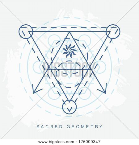 Sacred geometry sign. Linear Modern Art. Philosophy spirituality astrology esoteric symbol, logotype