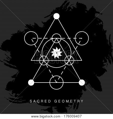 Sacred geometry sign on black grunge background. Linear Modern Art. Alchemy philosophy spirituality symbol, logotype. Vector illustration