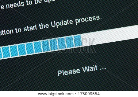 Computer Monitor screen Graph concept of update process
