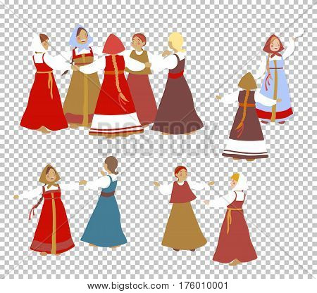 Russian girls in traditional clothes dance. A set of cartoon characters. Summer, round dance. National traditions, history, legends and epic. Thematic collection for design. Vector illustration EPS10