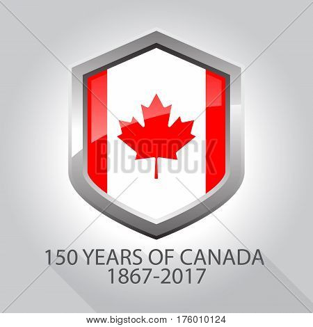 Shiny Canada flag silver shield with shadow on white background with words 150 years of Canada 1867-2017 vector illustration