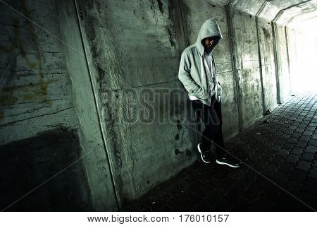 Social Issues, Stranger or homeless person in tunnel