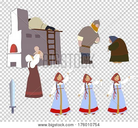 Russian warrior and his family: the bride, mother, wife, sister, child. A set of cartoon characters. National traditions, history, legends and epic. Thematic collection for design. Vector EPS10.