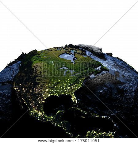 Central And North America On Earth At Night With Exaggerated Mountains