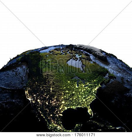 North America On Earth At Night With Exaggerated Mountains