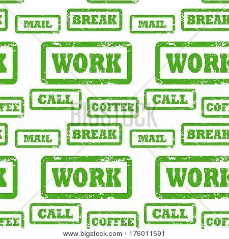Rough stamped words vector pattern. Office work concepts seamless pattern. Grungy rubber stamps with inscriptions Work Call Coffee Break Mail. Business time schedule planner watermark background