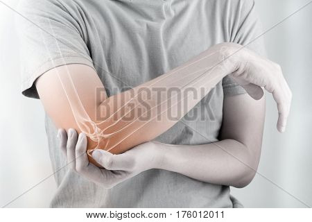 elbow bones injury white background elbow pain