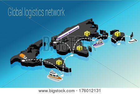 Map world isometric concept. 3d flat illustration of Map world. Vector world map connection