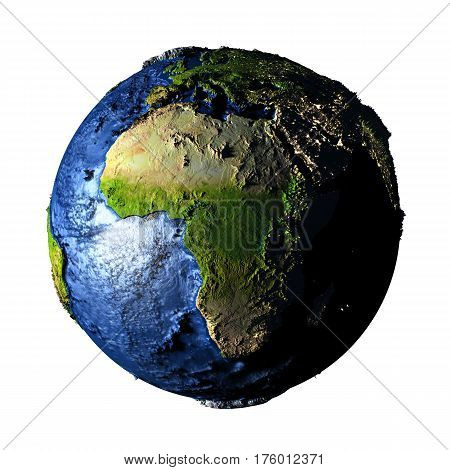Africa On Earth Isolated On White