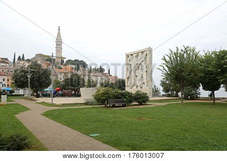 ROVINJ CROATIA - OCTOBER 16: WWII Memorial Monument in Rovinj on OCTOBER 16 2014. For Fallen Soldiers and Victims of Fascist Terror in Rovinj Croatia.