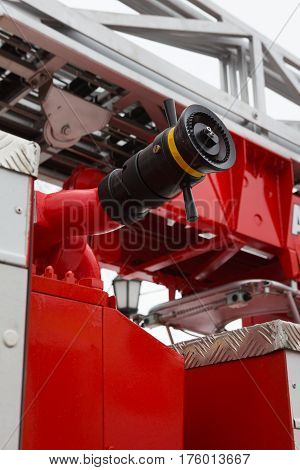 Water hoses in Fire truck - big red Russian fire fighting vehicle, vertical