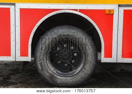 Wheel in Fire truck - big red Russian fire fighting vehicle, horizontal