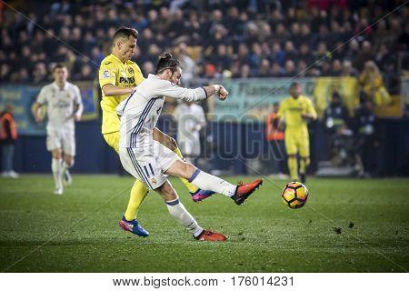 VILLARREAL, SPAIN - FEBRUARY 26: Gareth Bale with ball during La Liga match between Villarreal CF and Real Madrid at Estadio de la Ceramica on February 26, 2017 in Villarreal, Spain