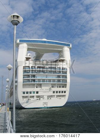 TALLINN, ESTONIA - AUGUST 9, 2005: Princess cruise line ship docked in Port of Tallinn, Estonia. Princess Cruises is a British-American owned cruise line, based in Santa Clarita, California