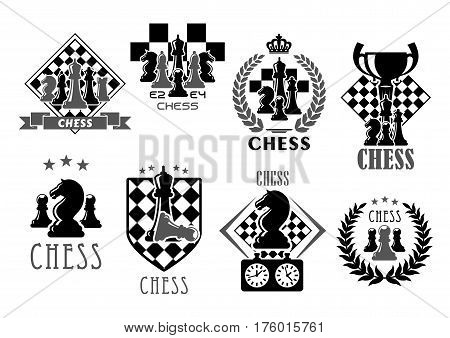 Chess club icons for chessplayer game contest or competition. Vector symbols of victory goblet cup prize on chessboard. Winner laurel and chessman pieces king and queen, rook or pawn and knight bishop