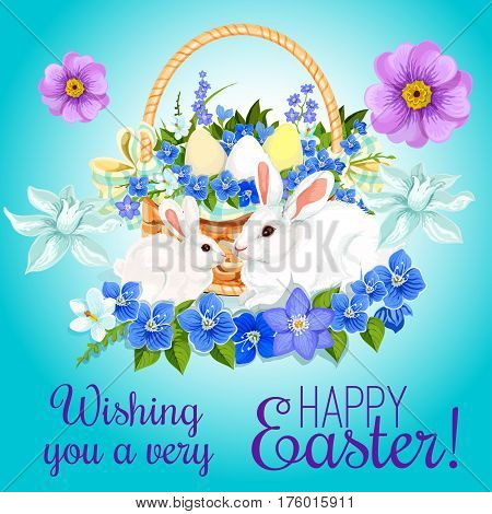 Happy Easter greeting card of paschal eggs and bunny rabbits in wicker basket and springtime flowers bunch of crocuses, daffodils and tulips. Vector design for Easter religion holiday wishes