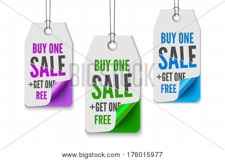 Sale labels set. Promo collection for web and print, Realistic vector illustration of paper labels with curl colorful corners