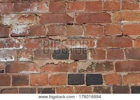 Close-up view of old building brick wall background concept