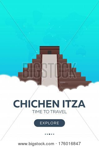 Mexico. Chichen Itza. Time To Travel. Travel Poster. Vector Flat Illustration.
