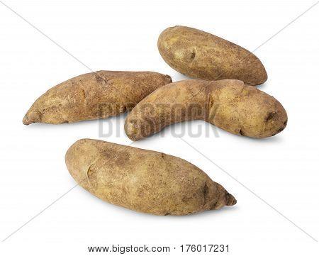 Fresh raw kipfler potatoes isolated on white background