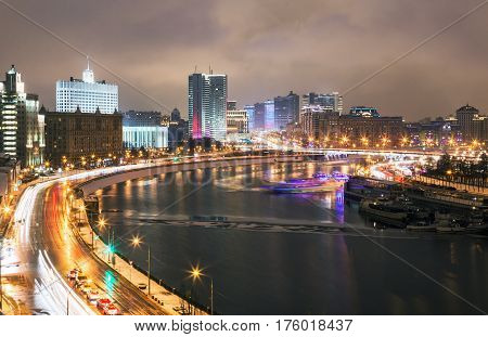 Night streets of Moscow in the spring. View of the building of the Russian government and the City Hall