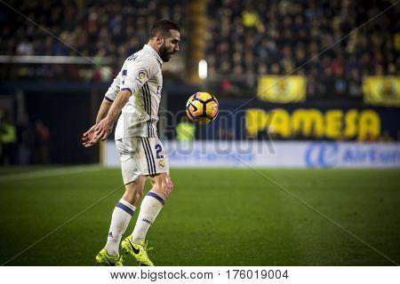 VILLARREAL, SPAIN - FEBRUARY 26: DAniel Carvajal during La Liga match between Villarreal CF and Real Madrid at Estadio de la Ceramica on February 26, 2017 in Villarreal, Spain