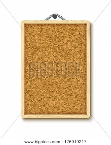 Cork board with wooden frame, realistic vector illustration isolated on white. Vertical corkboard hanging on rope